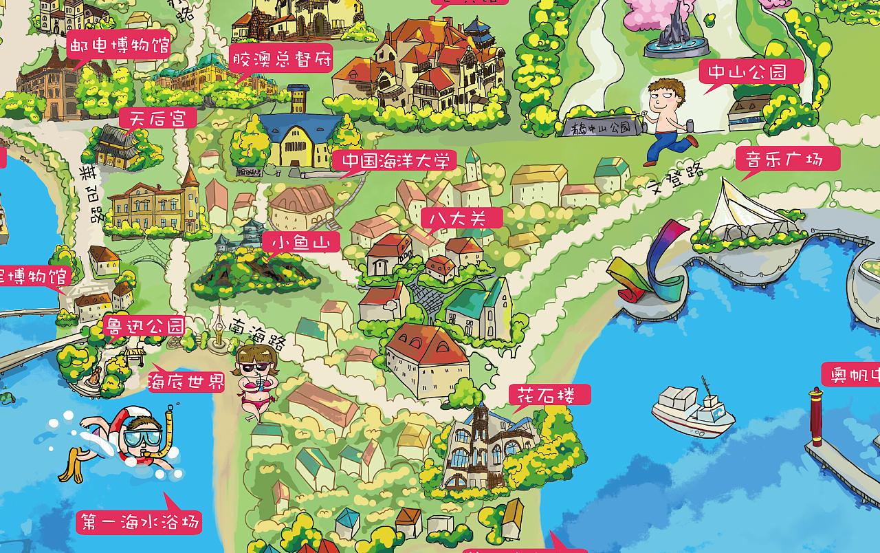 青岛手绘地图(细节)