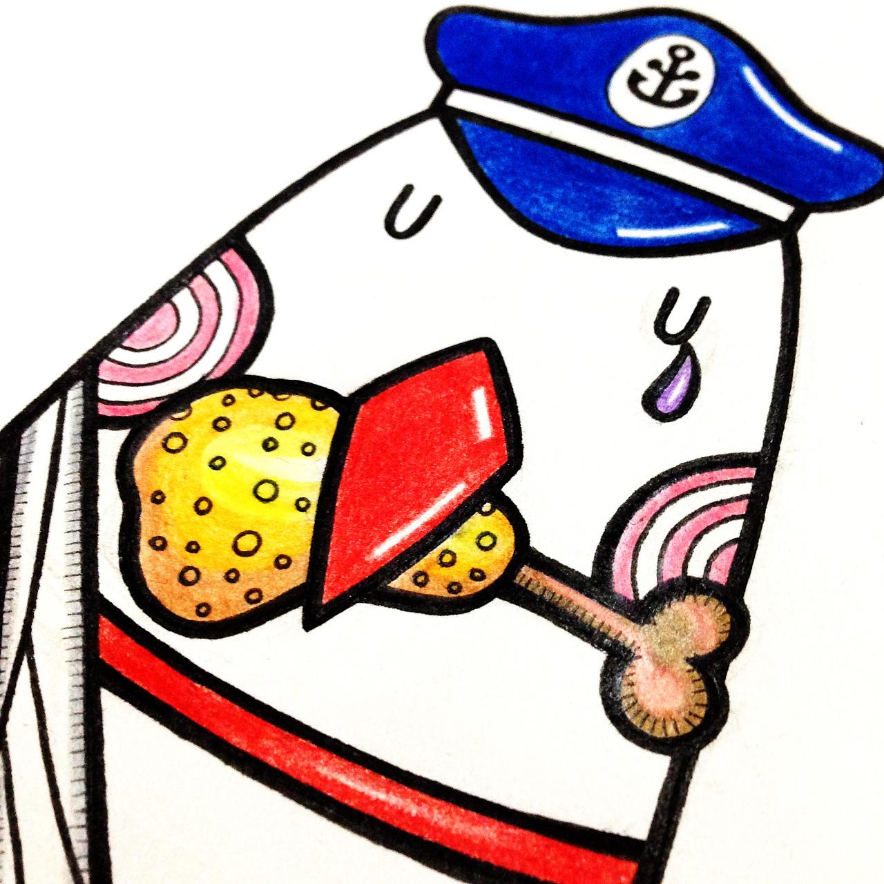 手绘涂鸦插画稿 企鹅船长 手绘过程