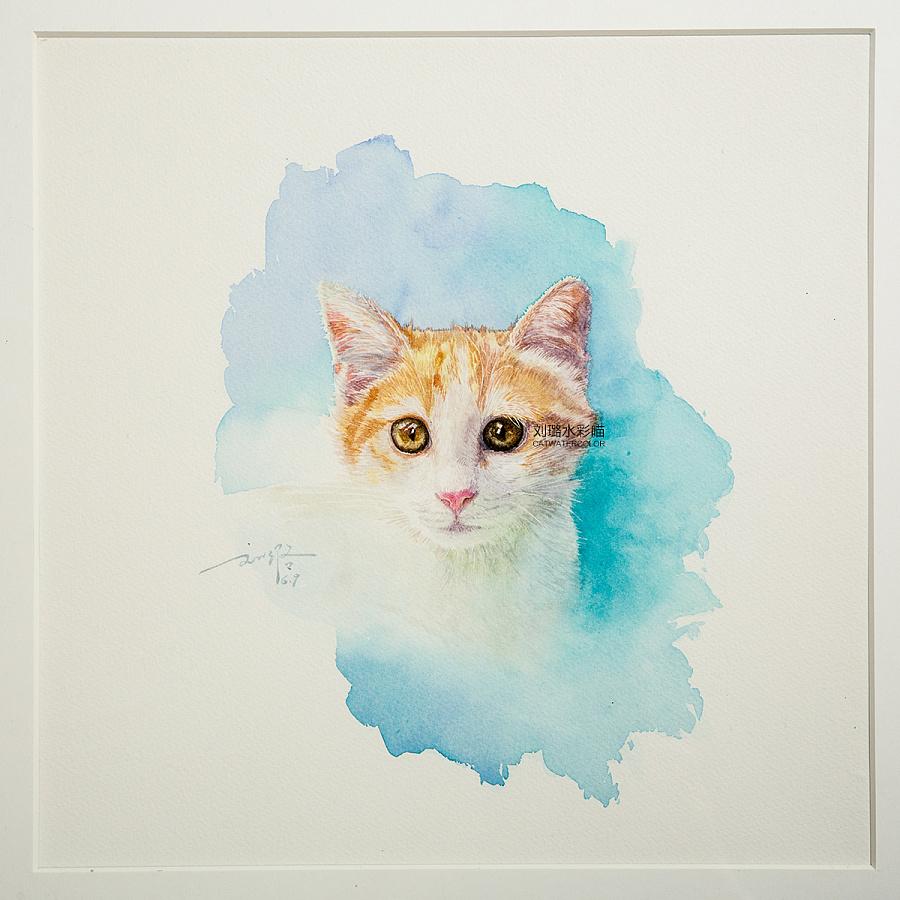 蓝之溺-原创手绘水彩猫咪