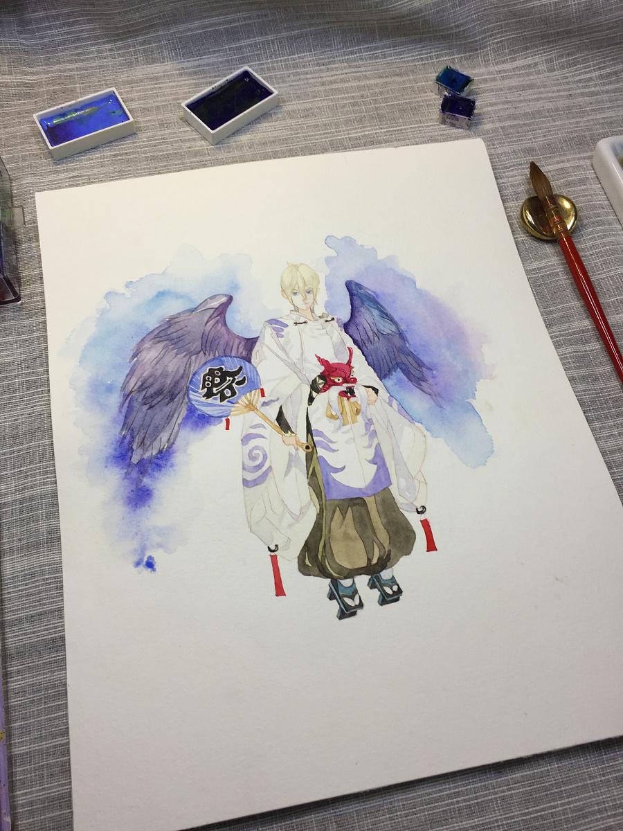 水彩手绘--阴阳师 大天狗子 水彩 纯艺术 蒲之未落