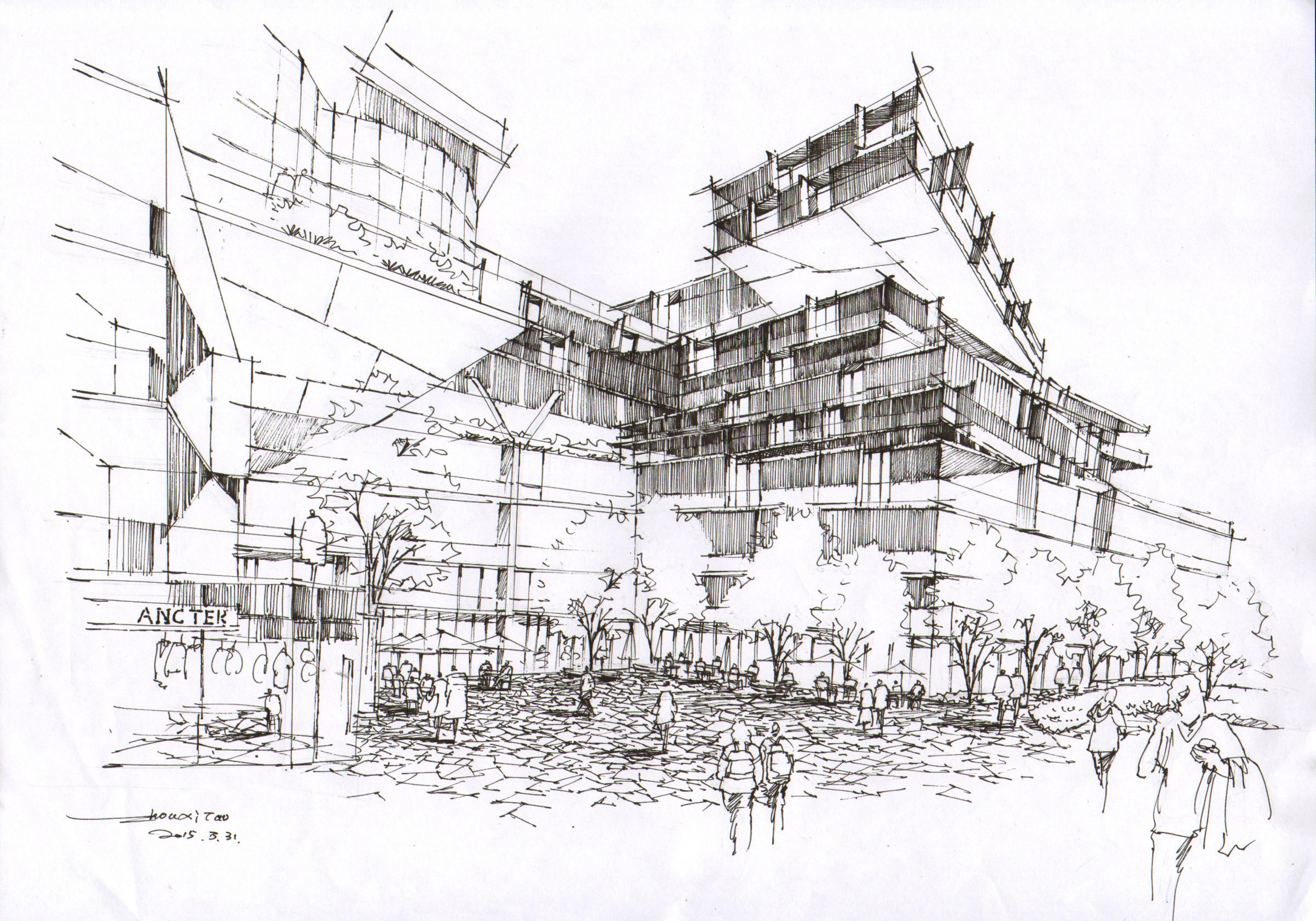 建筑手绘|空间|建筑设计|徒行 - 原创作品 - 站酷