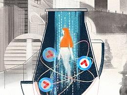 优酷命题插画海报:城市|花瓶|女性
