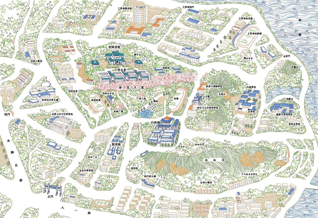 樱 武汉大学手绘地图