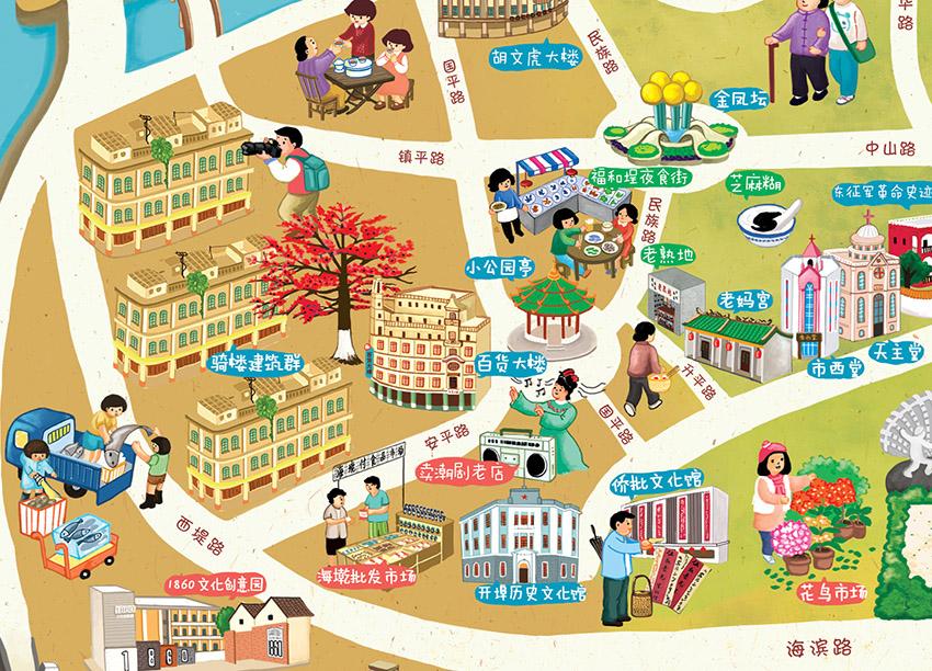 汕头国际大酒店手绘地图