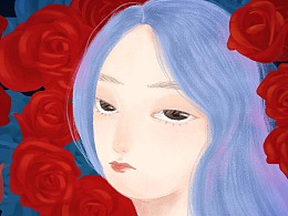 蔷薇里的蓝发少女