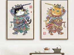 风俗年画之猫咪门神(警长尉迟敬喵和橘喵叔宝)