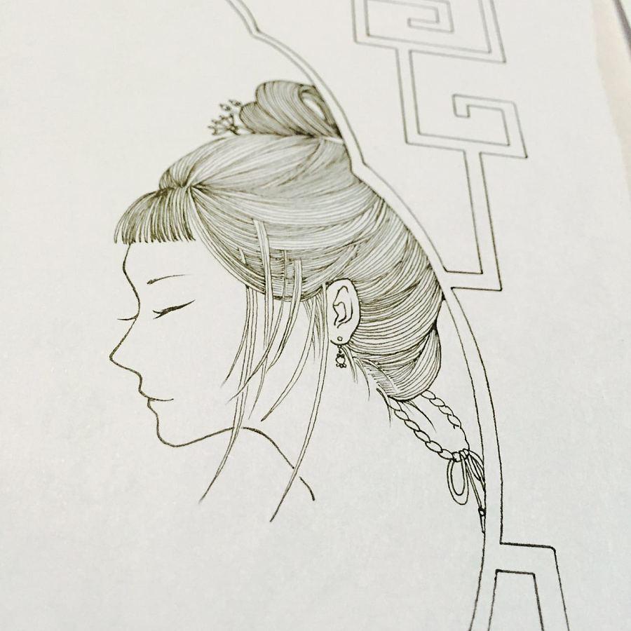 侧脸古风手绘教程