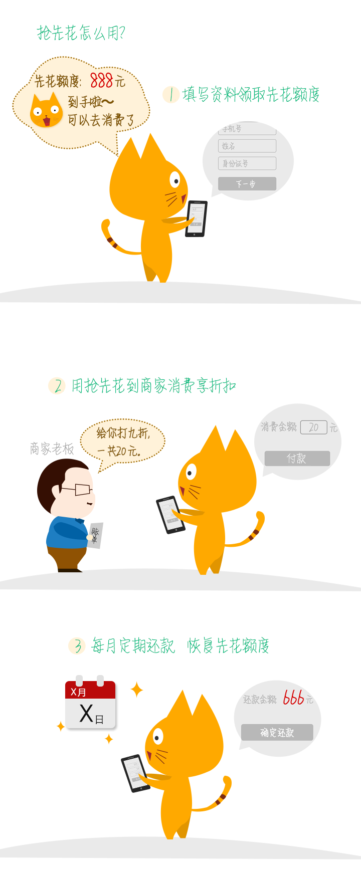 手机app活动-banner 介绍使用流程的手绘图