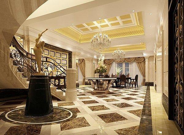 郑州鸿园600平欧式大气别墅装修效果图,奢华风格的v大气园高新别墅钦