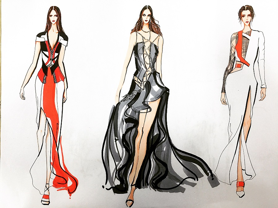 马克笔服装效果图,女士礼裙系列