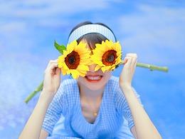 向日葵的蓝色夏天