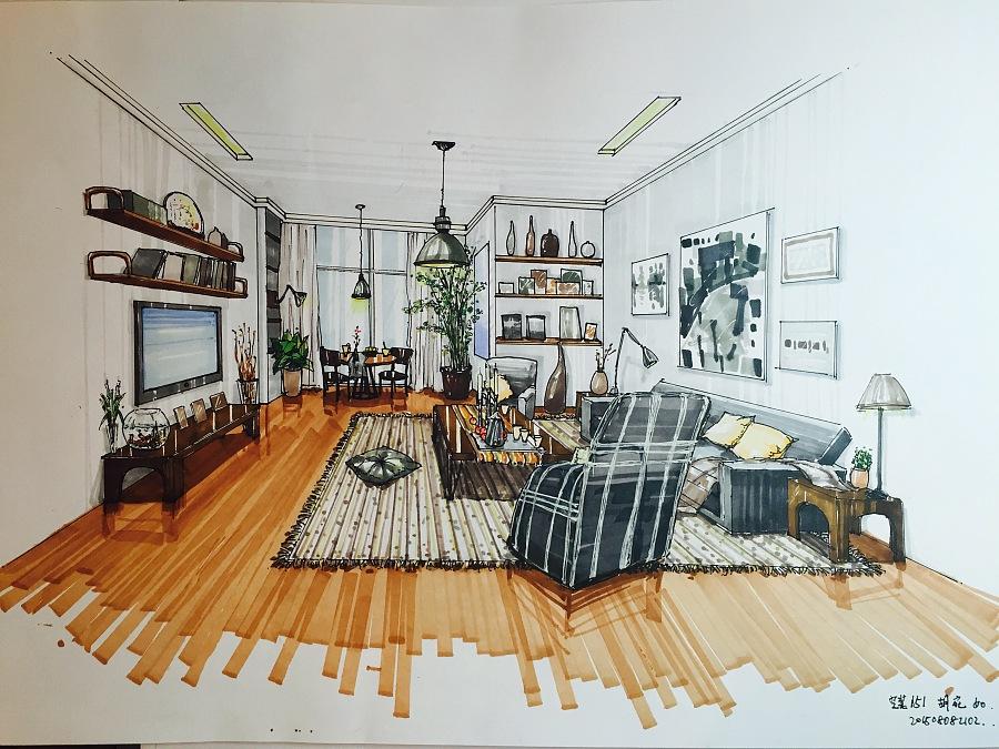 室内设计马克笔手绘|室内设计|空间/建筑|猫喵渔鱼