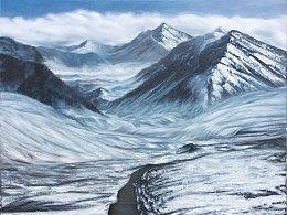 《圣洁的雪山 虔诚的朝圣者》原创油画作品