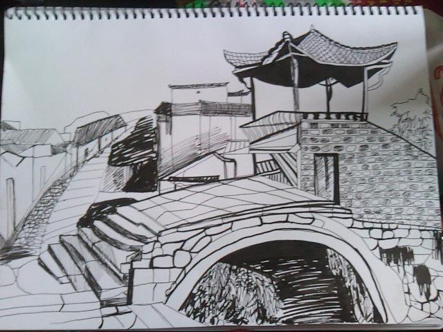 4.于安徽皖南查济.带有装饰性的风景速写