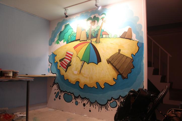 帮一家自助烧烤店做的一副墙绘.图片