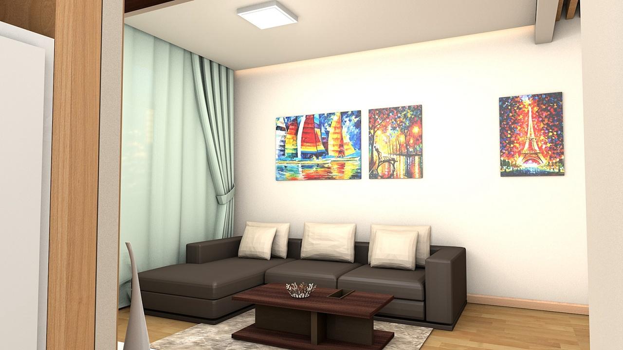 【客厅】沙发背景墙——可以看到吊顶部分考虑的比较简单,除了一个主