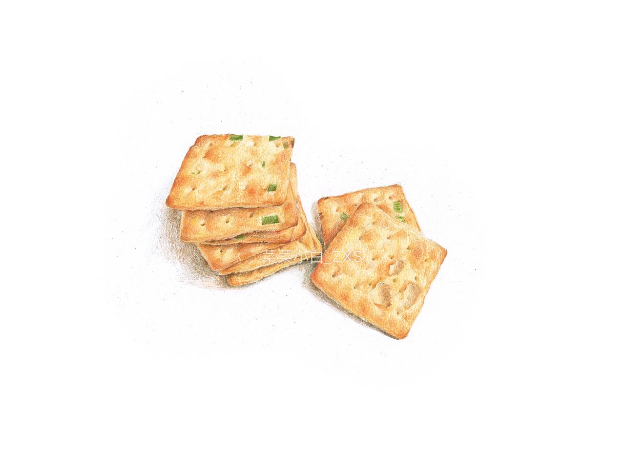 彩铅手绘—葱油饼干