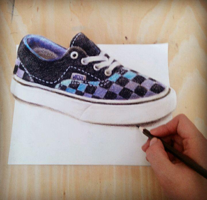 3d立体彩铅手绘鞋子