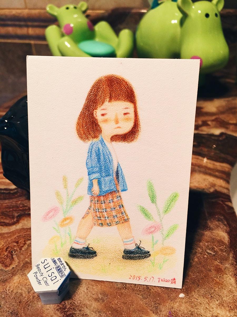 手绘彩铅小人物系列插画30|商业插画|插画|丁小婧