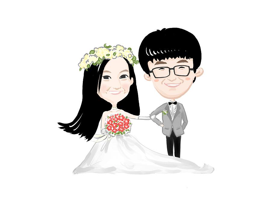 手绘结婚照 卡通形象