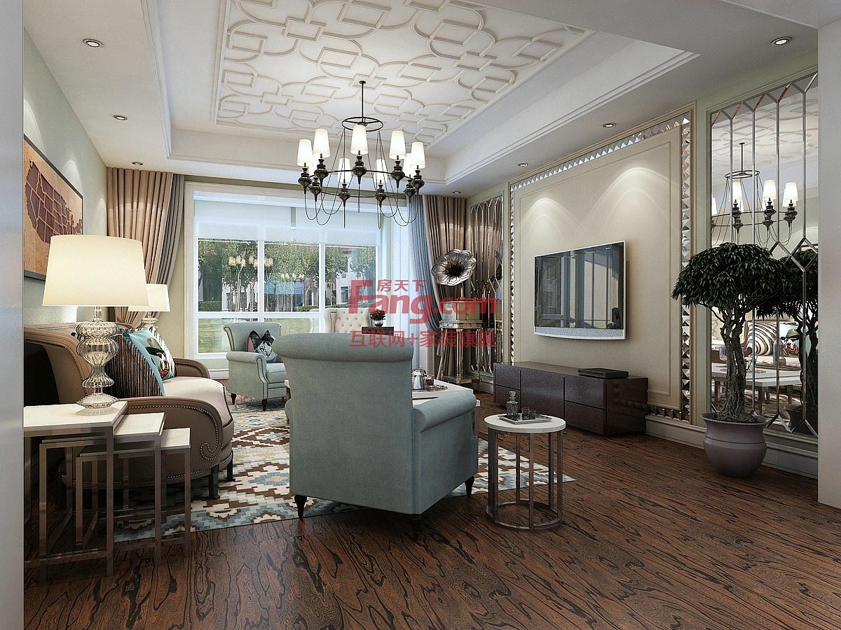 【奥北公元装修】奥北公元120㎡三室两厅户型简欧风格装修效果图案例