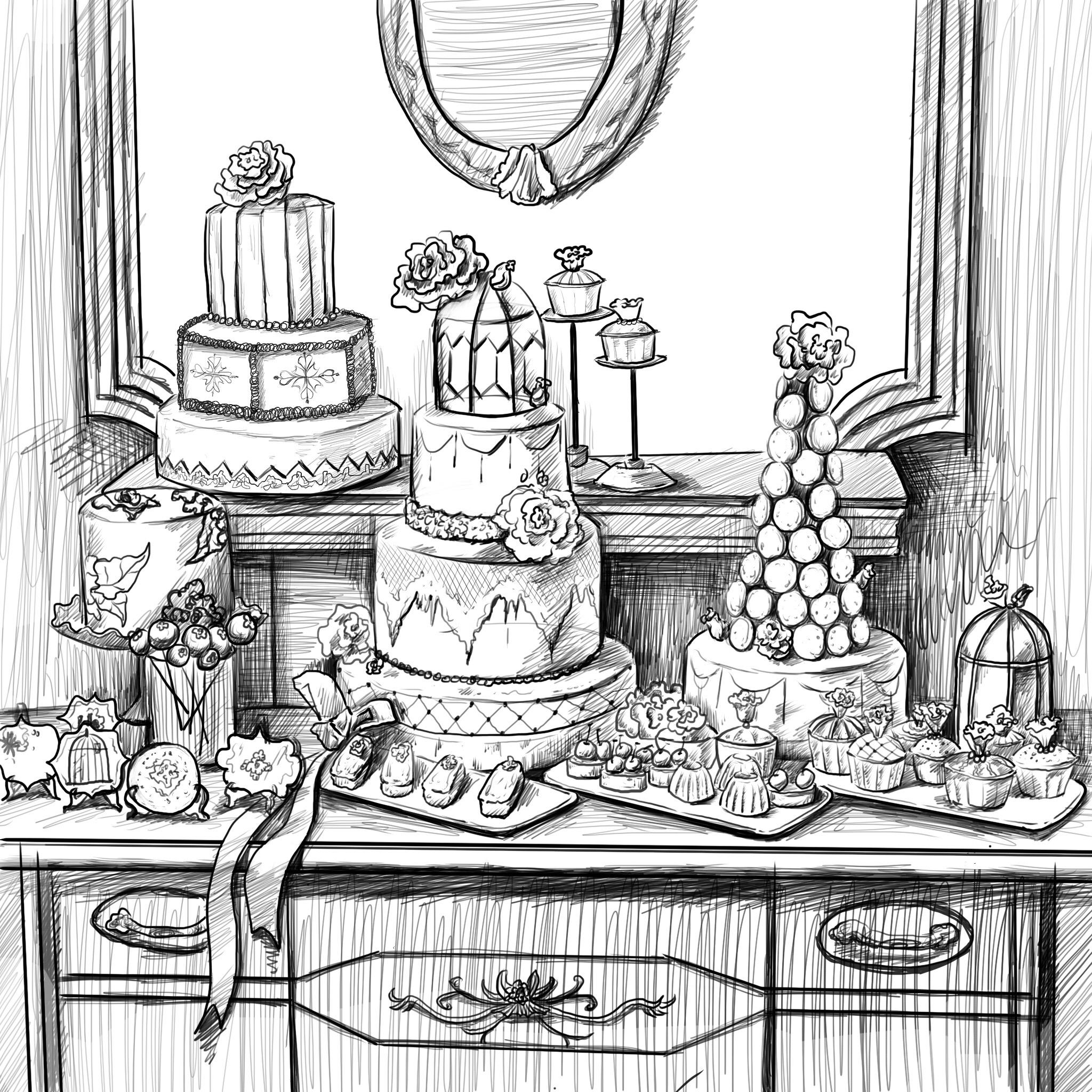 手绘甜品台