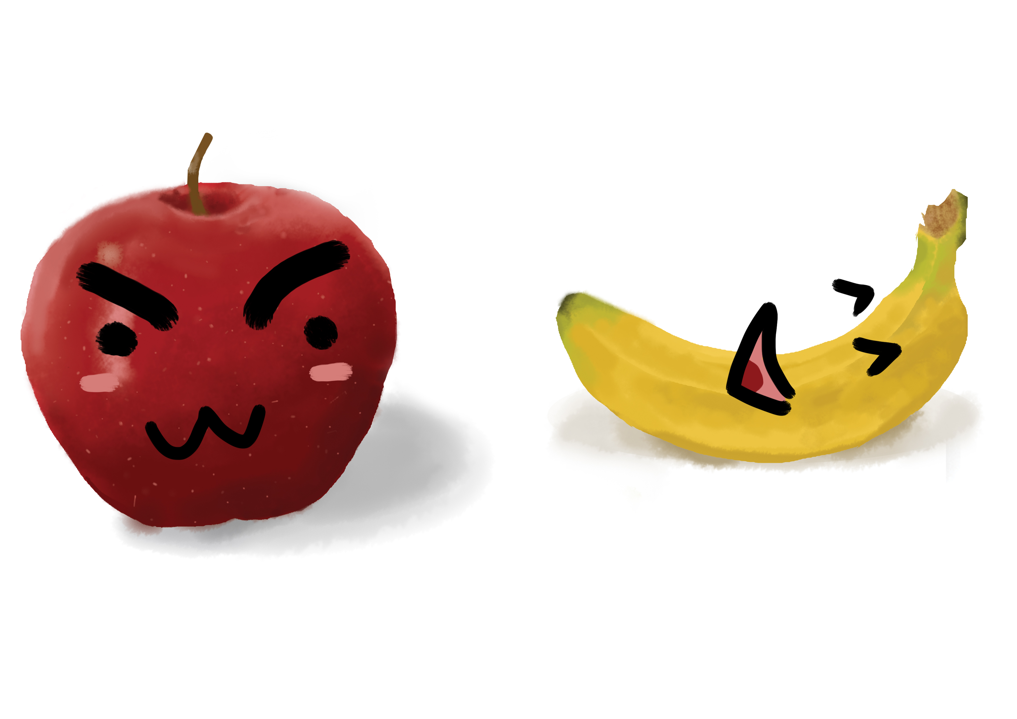 苹果与香蕉|插画|插画习作|kiraakuma - 原创作品图片