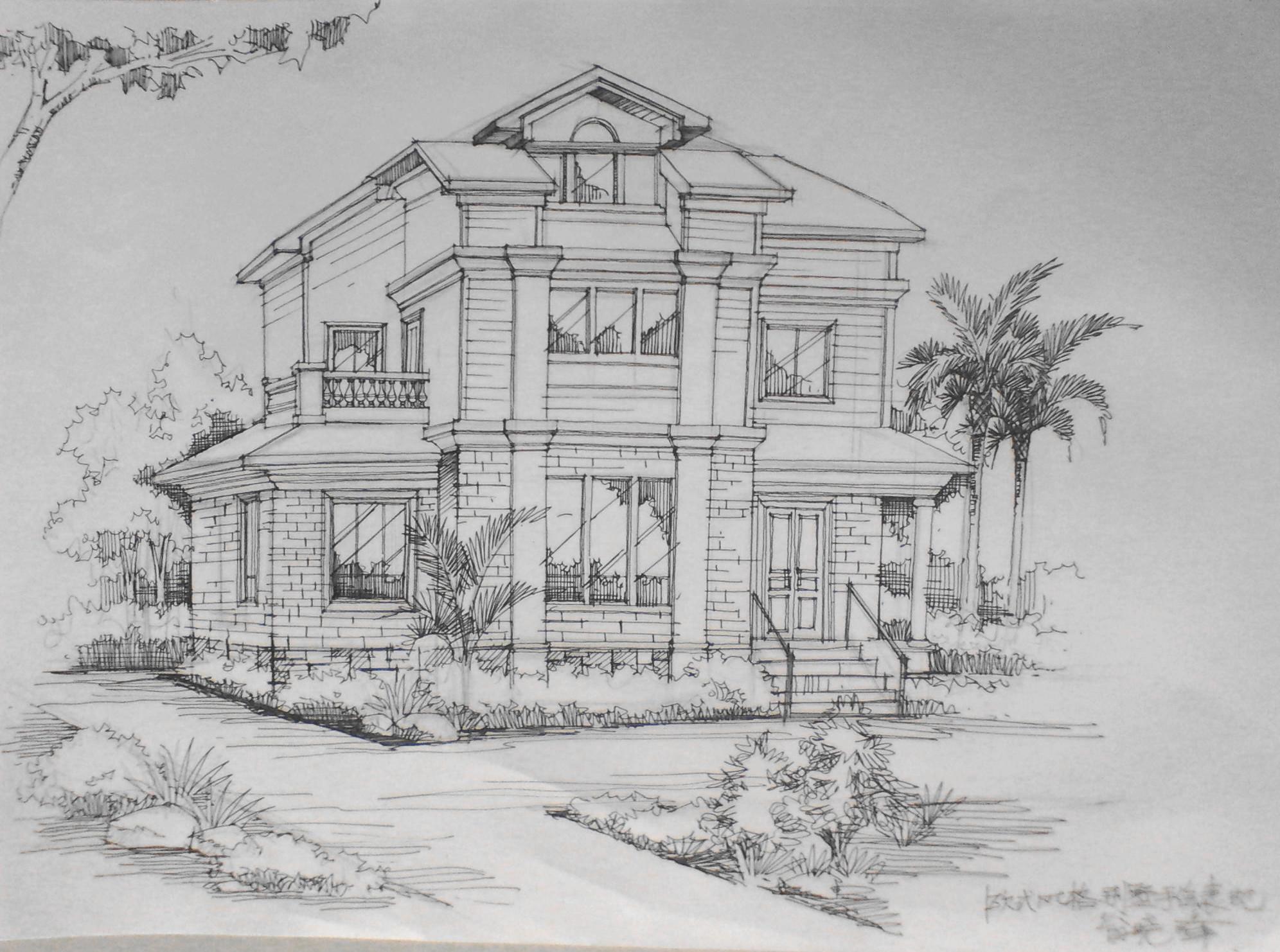 欧式别墅外观手绘效果图线稿