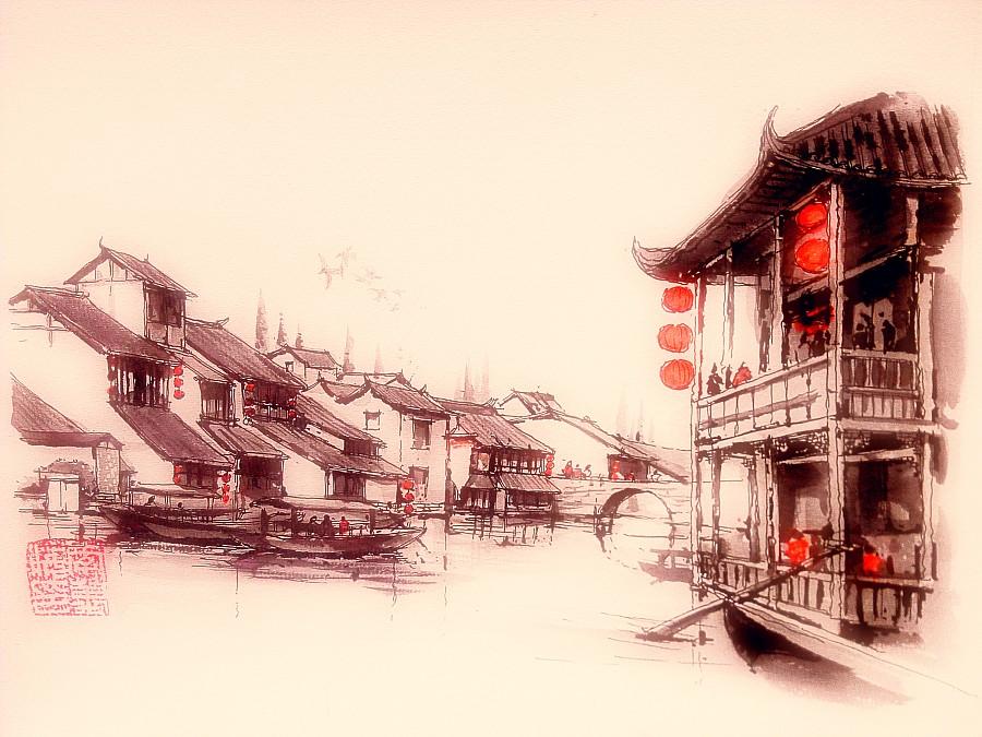 李万海-w-手绘钢笔水墨画《水乡古镇》 绘画习作