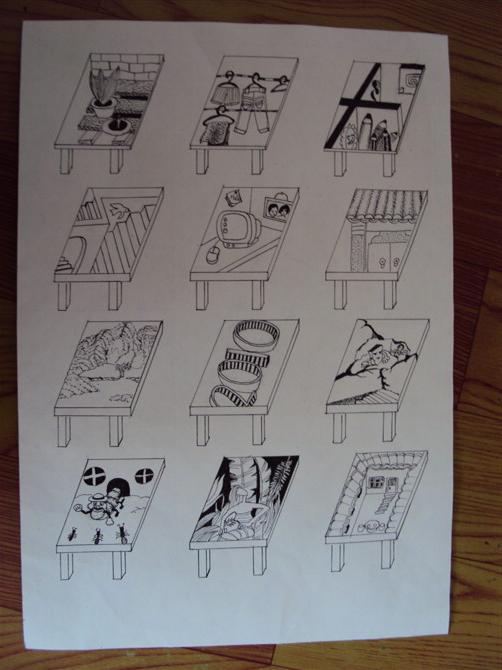 图形创意课堂作业之一 br>由桌面进行联想而作图片