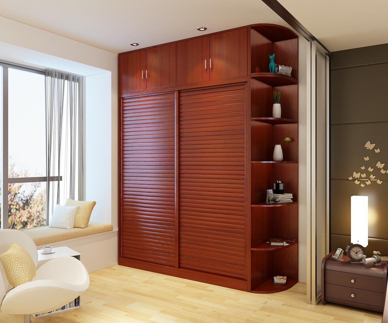 现代简约板式衣柜效果图图片