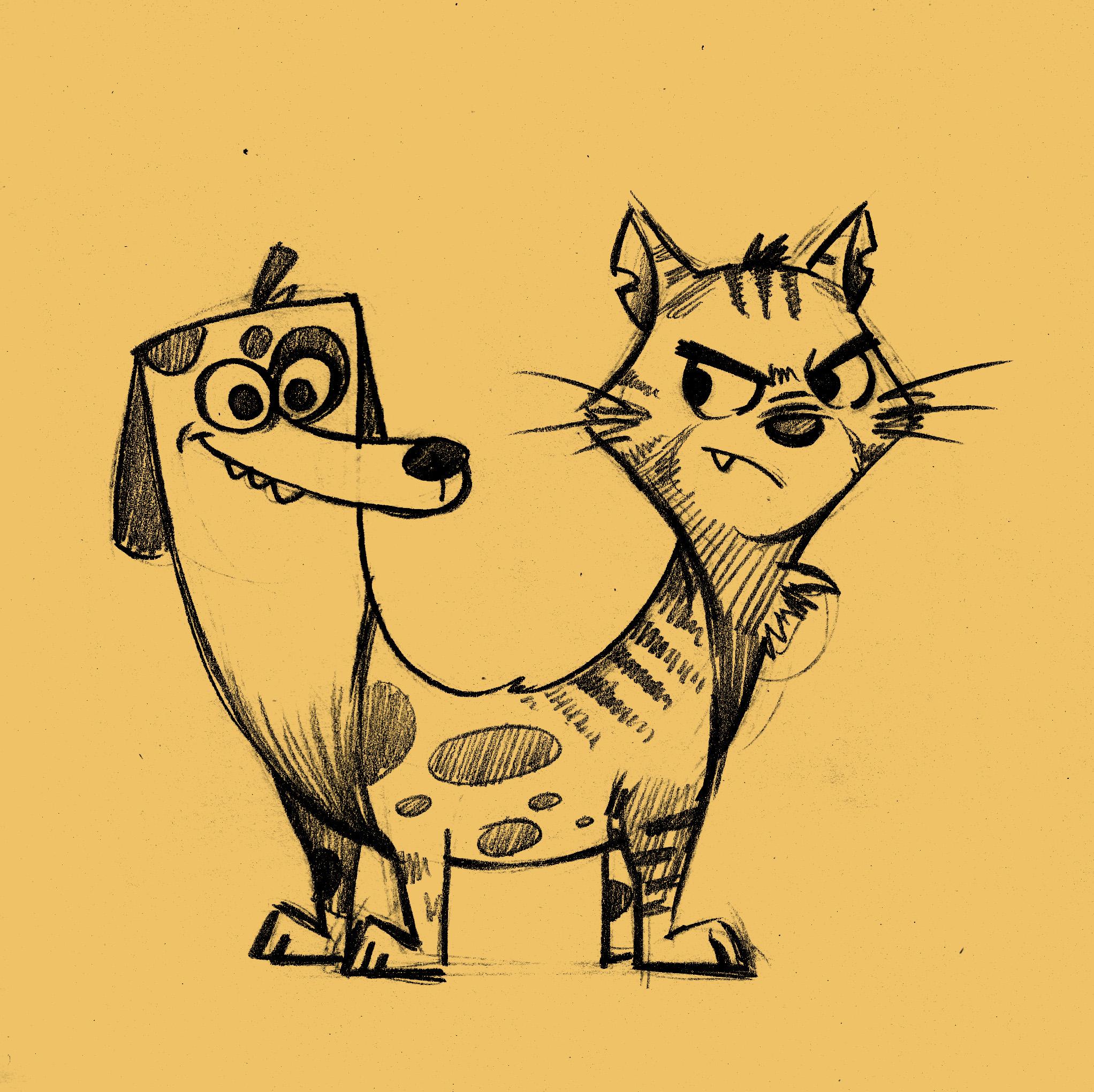 猫狗动画片图片