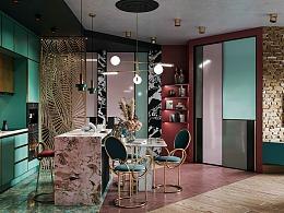 轻奢遇上极具色彩的浪漫,奢而混杂的精致居所