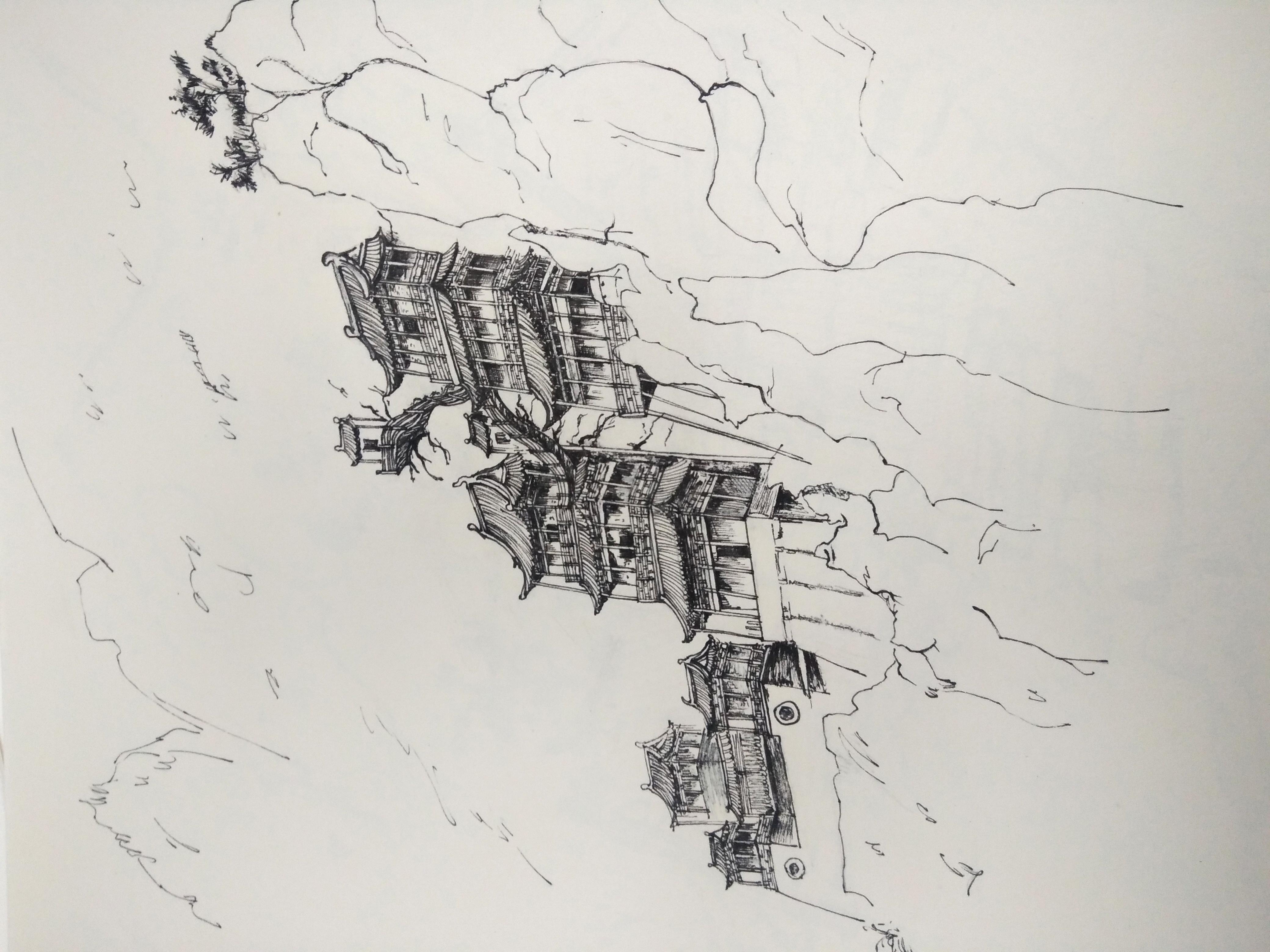 手绘风景建筑|纯艺术|钢笔画|糖豆逗 - 原创作品