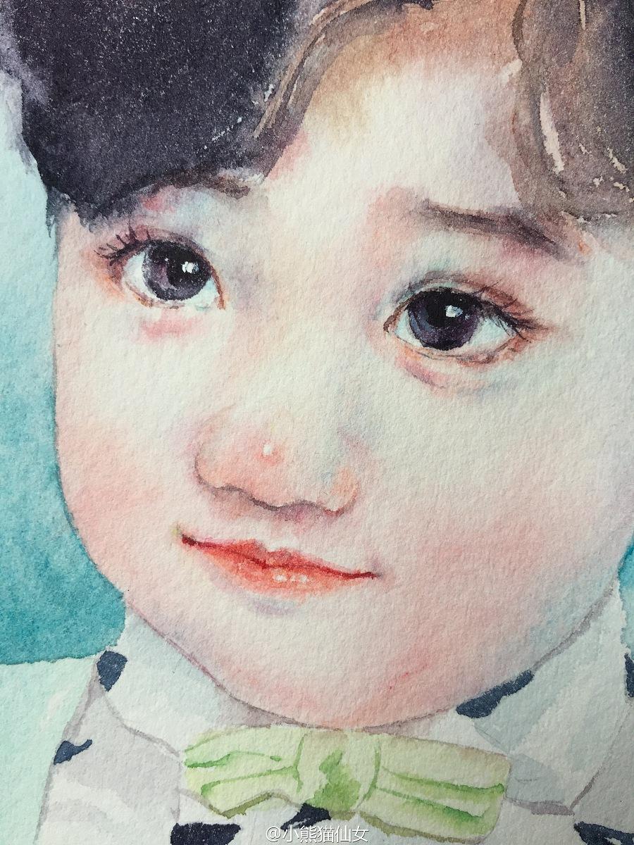 【小熊猫】水彩手绘人物水彩教程小孩头像水彩步骤