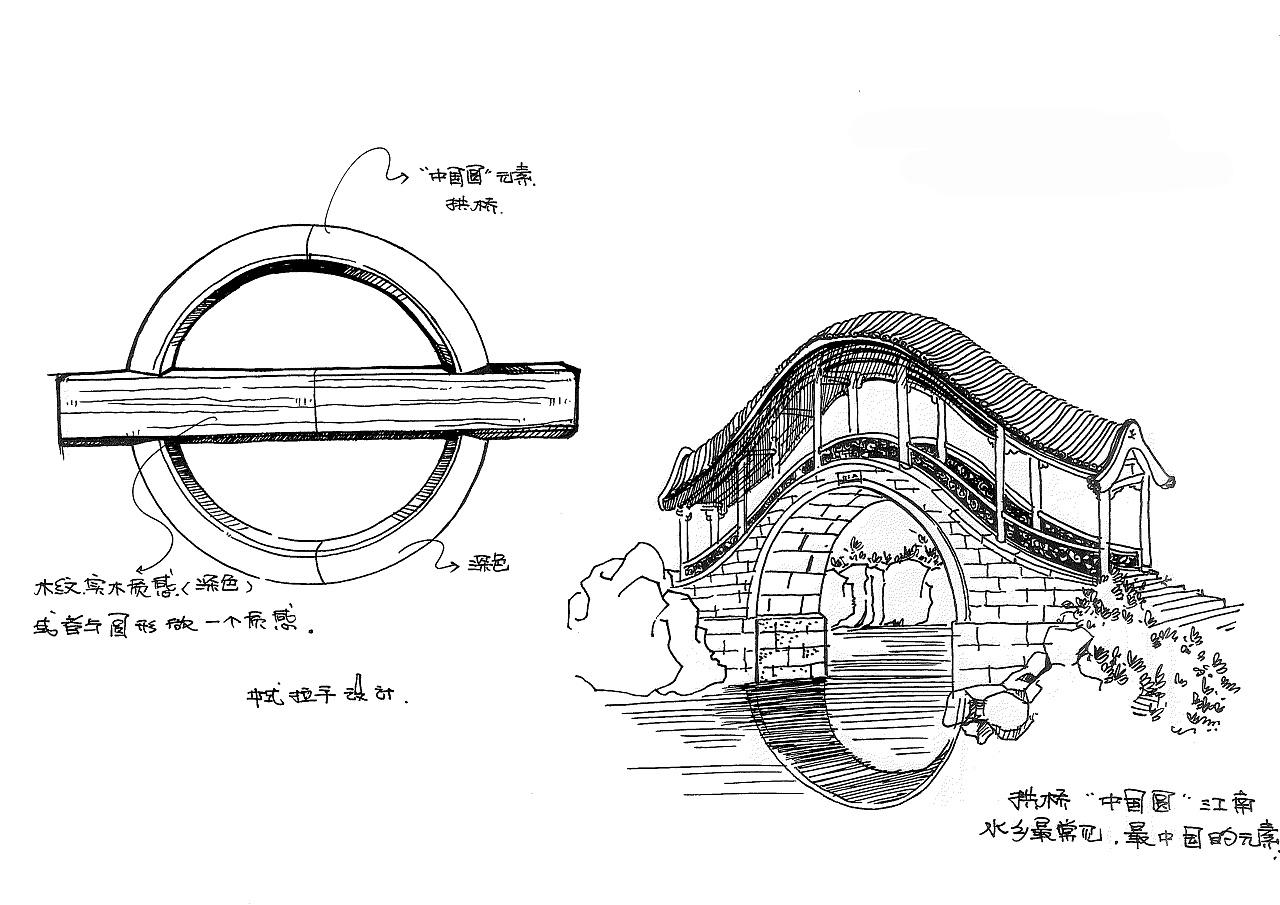 提炼中式建筑元素时候的手绘