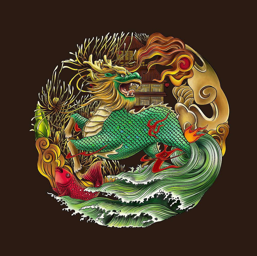剪纸麒麟送子�_汉族民间有麒麟送子之说,另一种麒麟形象是龙头,马身,龙鳞.