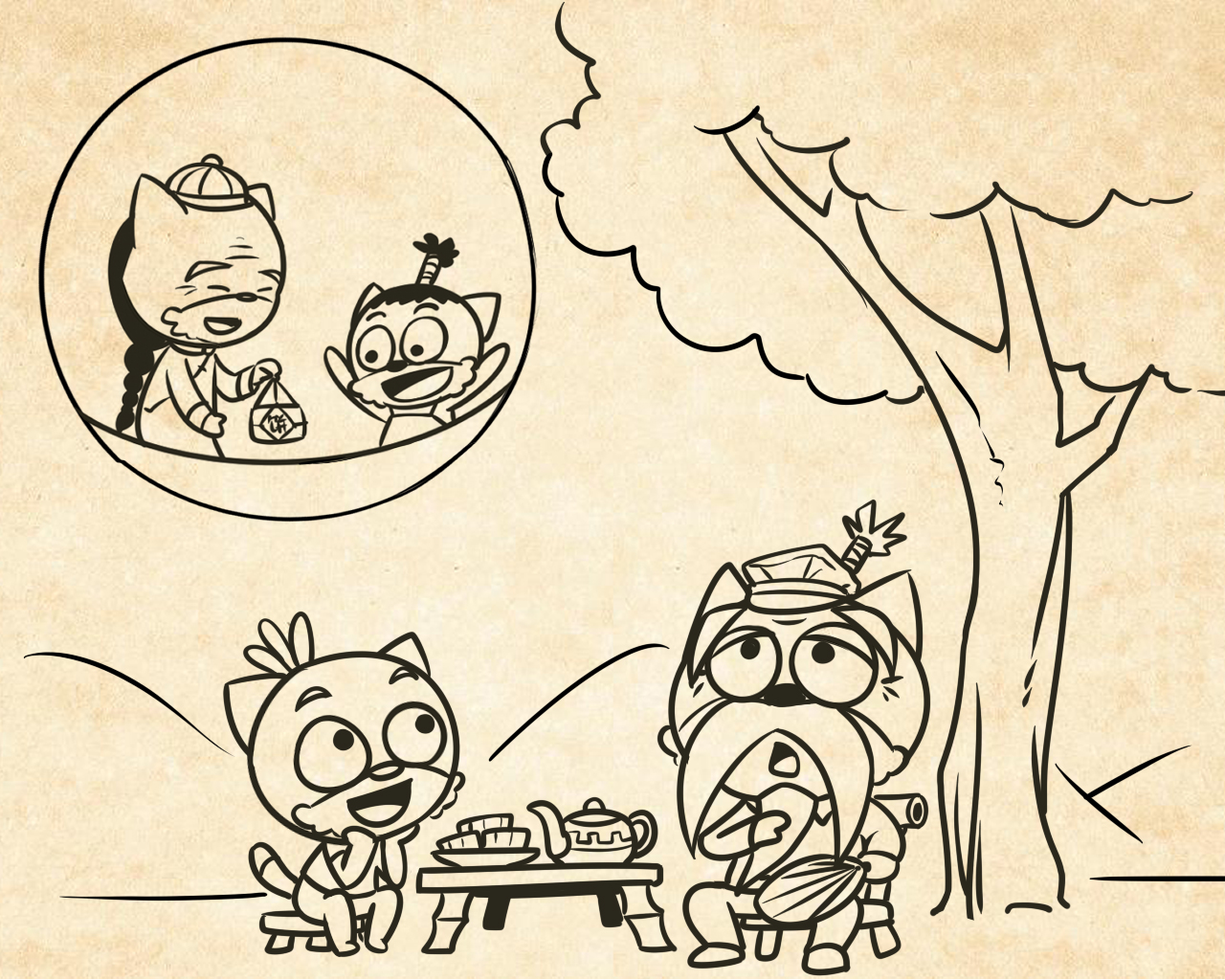 手绘月饼简笔画平面