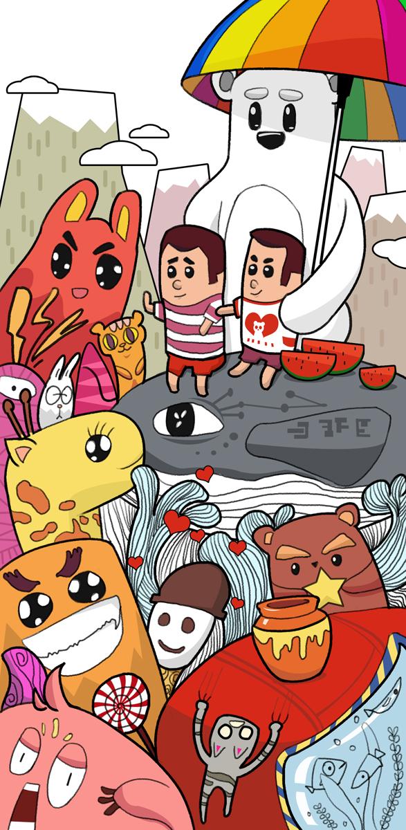 卡通动物涂鸦墙绘