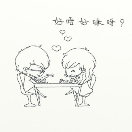 情侣恋爱简笔画