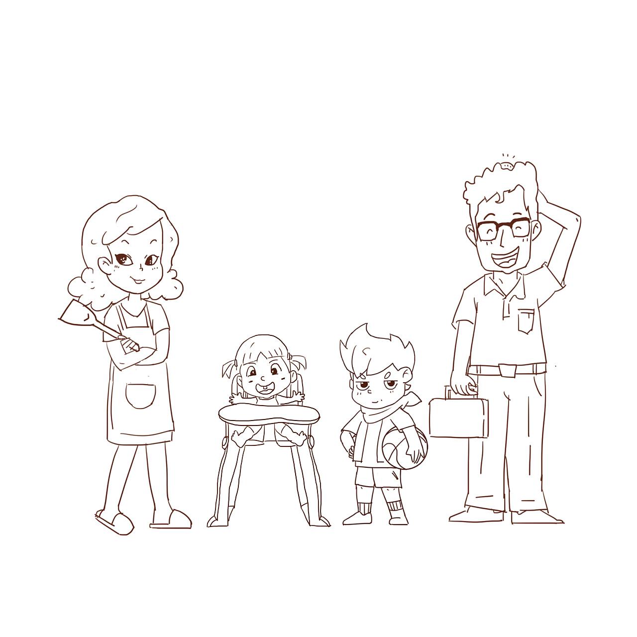 手绘背景图家庭