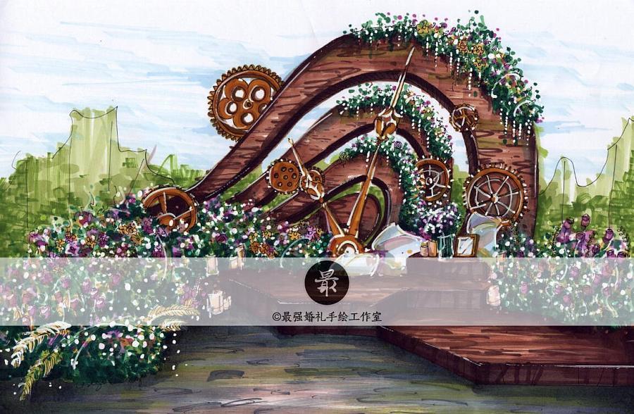 【婚礼手绘】纸面手绘马克笔手绘户外效果图|舞台