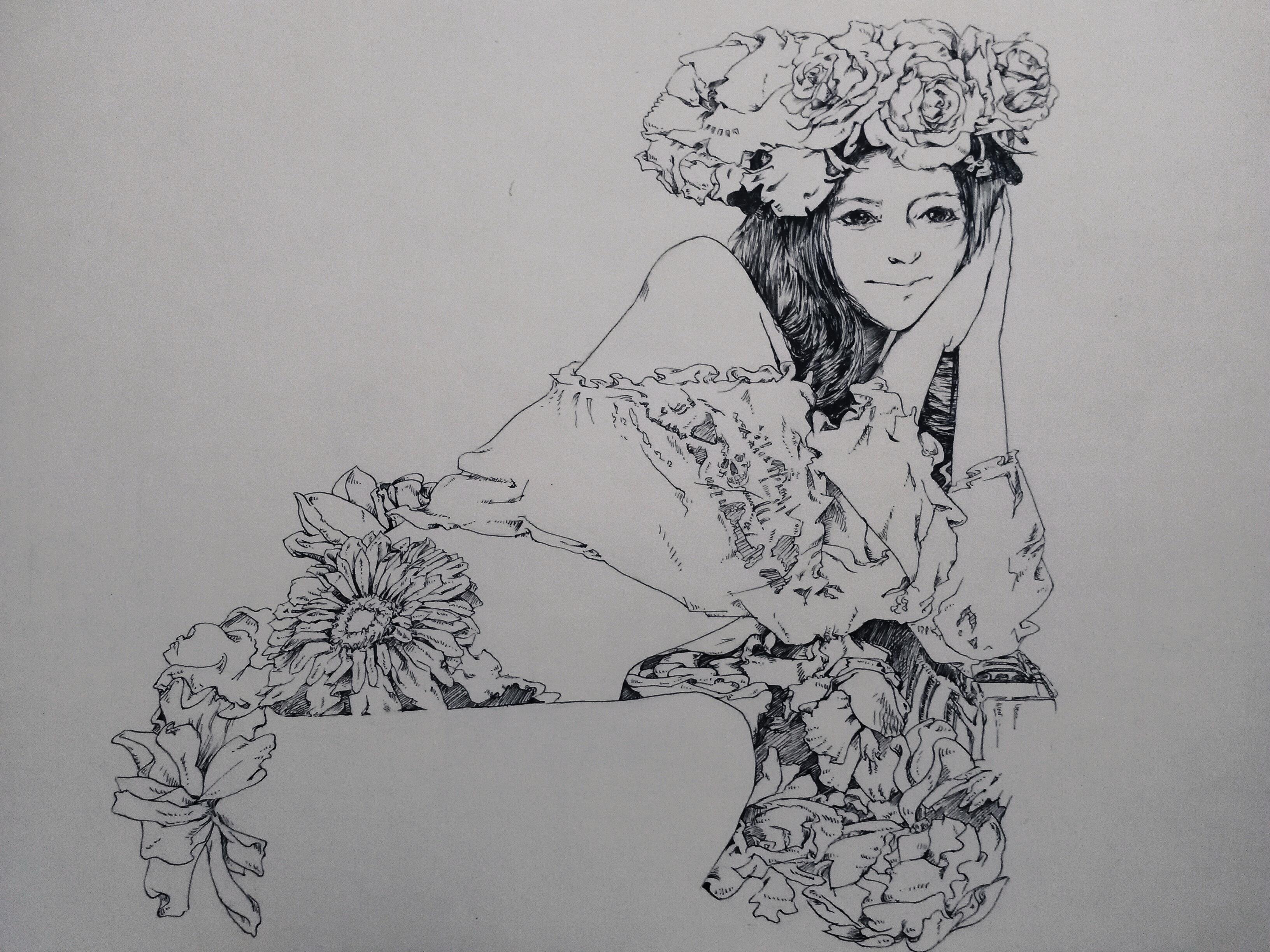 花女背景图片手绘