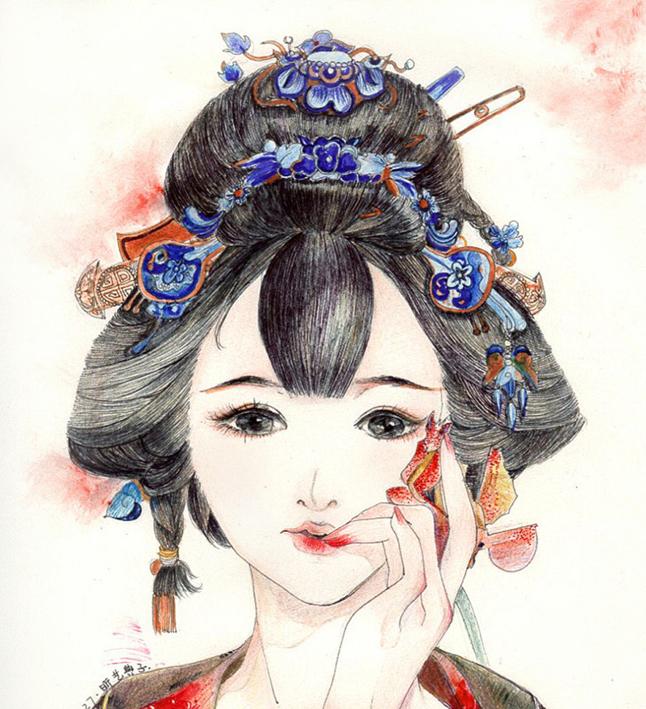 手绘插画《花香簪入鬓》彩铅水彩笔|绘画习作|插画