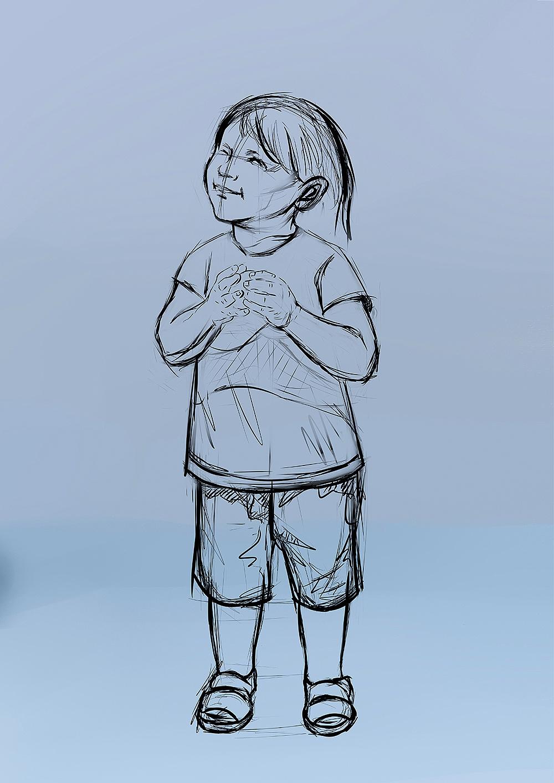 小女孩手绘—向往的眼神