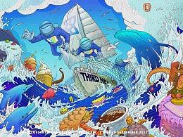 海上美食-三网餐饮企业形象插画