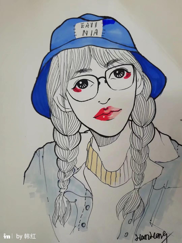 马克笔手绘头像|动漫|肖像漫画|米砂米砾 - 原创作品