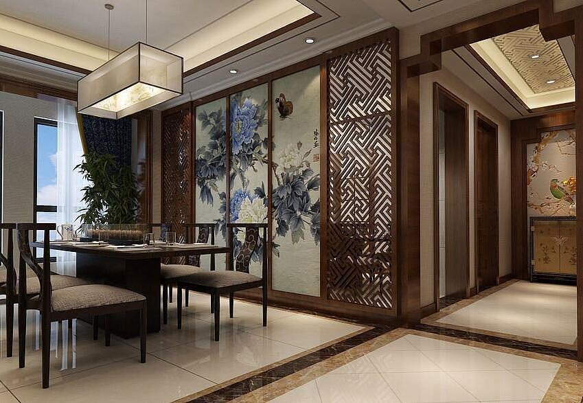 海马公园大平层210平新中式风格装修效果图欣赏