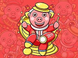 2019年小红猪 新年素材 描边卡通猪 扁平化猪素材