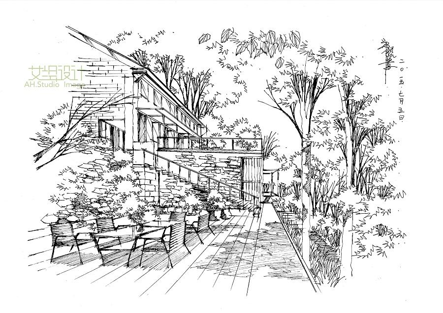 别墅景观线稿一张|园林景观/规划|空间/建筑|画手绘